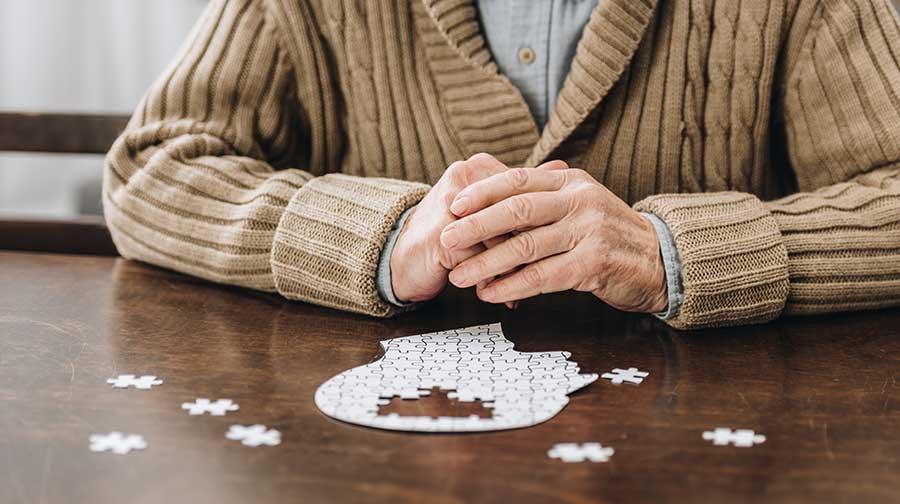 Man doing puzzle